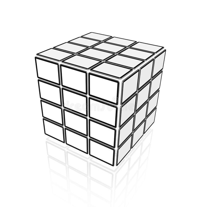 Video cube of flat tv screens stock illustration