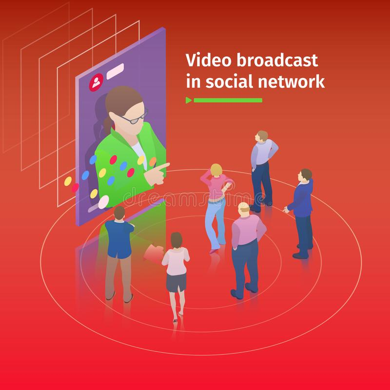 Video, das auf Smartphone strömt Flaches isometrisches 3d Konzept des Entwurfes Leute passen eine Videosendung auf dem Schirm auf lizenzfreie abbildung