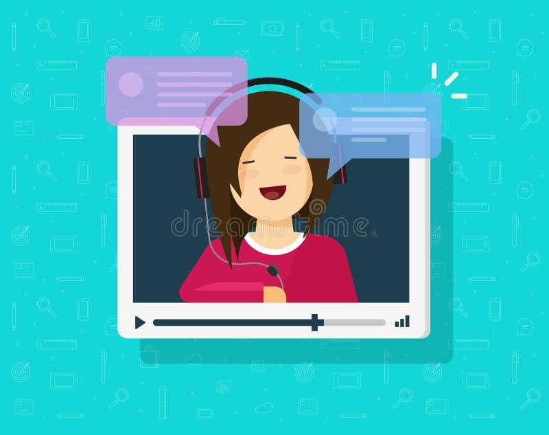 Video, das on-line-Vektorillustration, flaches Karikaturvideo-player-Fenster mit dem Sprechen des glücklichen Mädchens und der Bl lizenzfreie abbildung