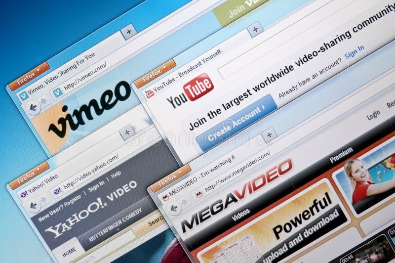 Video-deelt websites stock fotografie