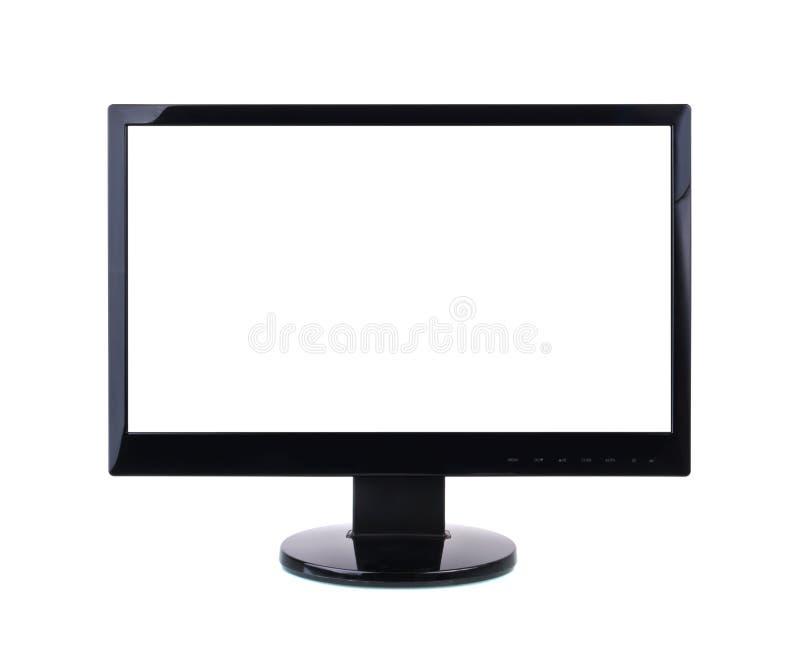 Monitor del computer con lo schermo bianco in bianco. immagini stock