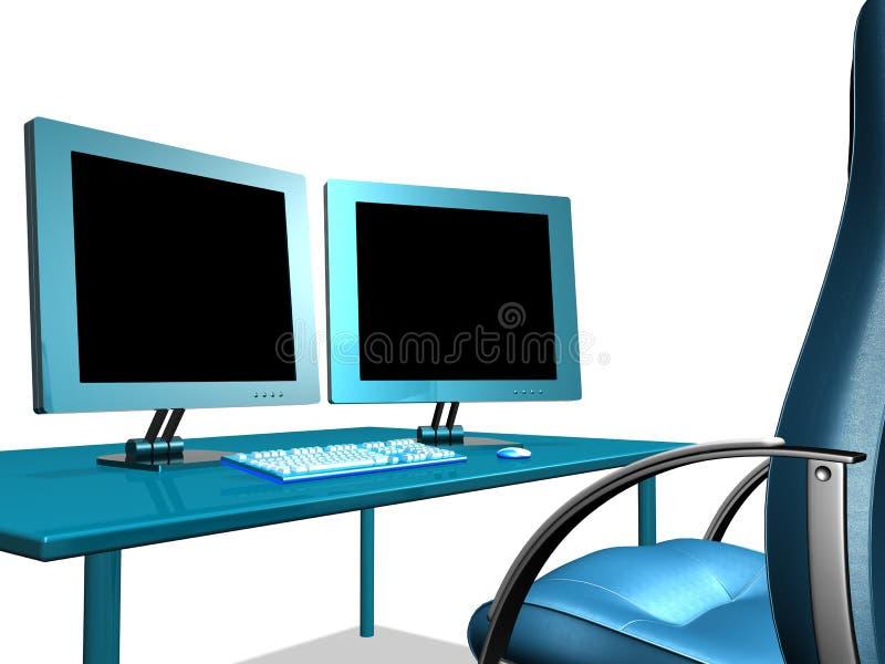 MONITOR DI LCD DELL'UFFICIO fotografia stock libera da diritti