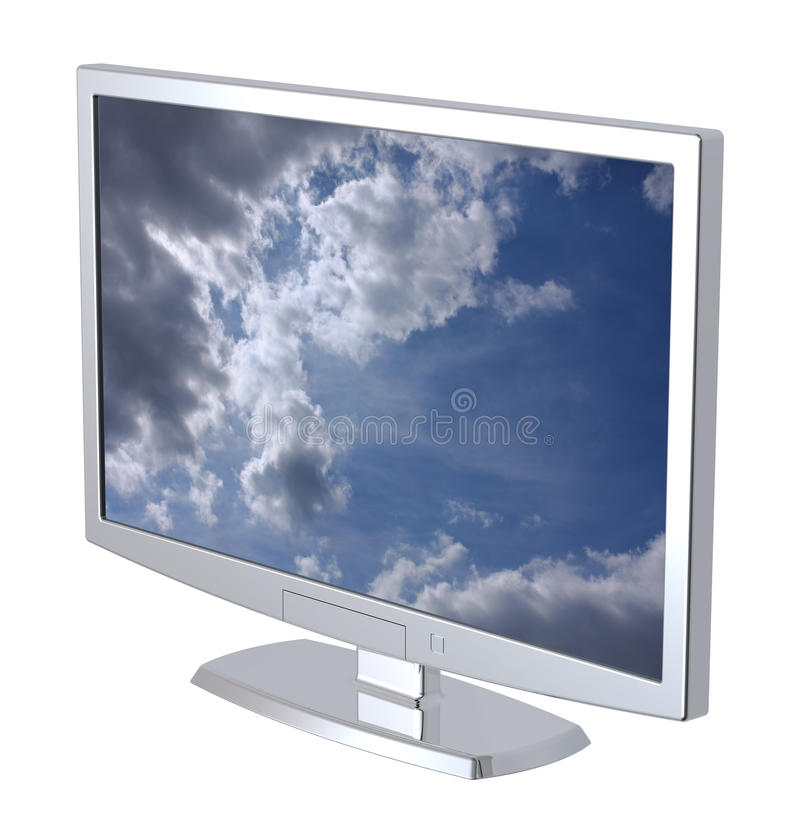 Video dell'affissione a cristalli liquidi TV su priorità bassa bianca. royalty illustrazione gratis
