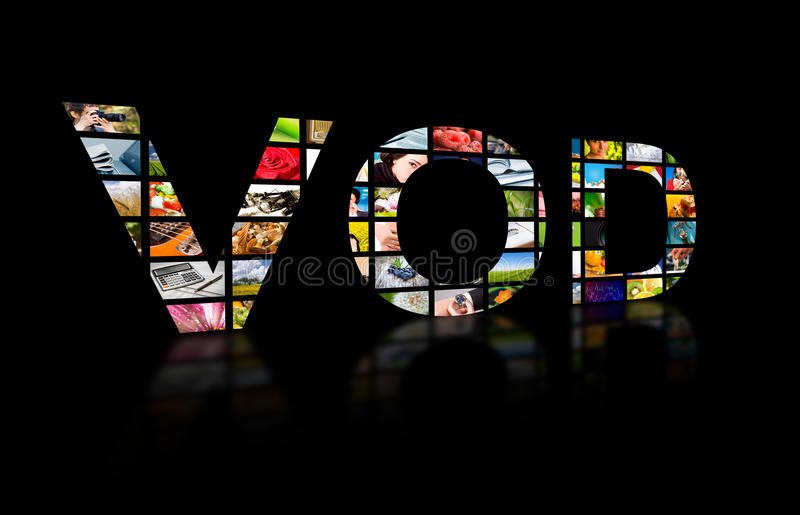 Video on demand abstract text, tv concept. stock photo