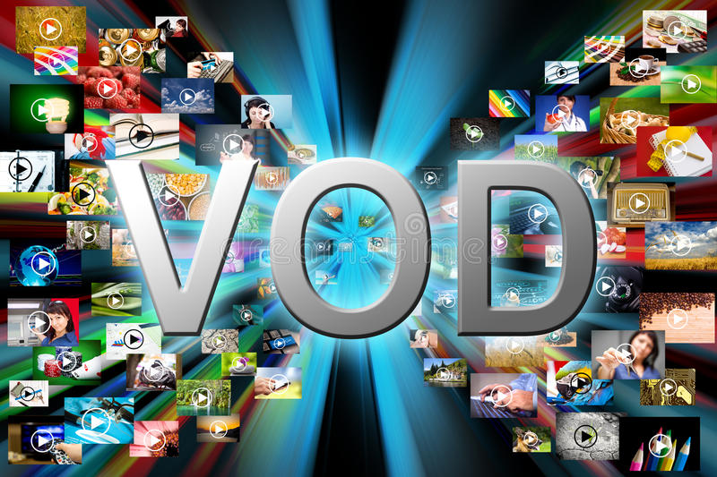 Video on demand. VOD service on TV, abstract television concept stock image