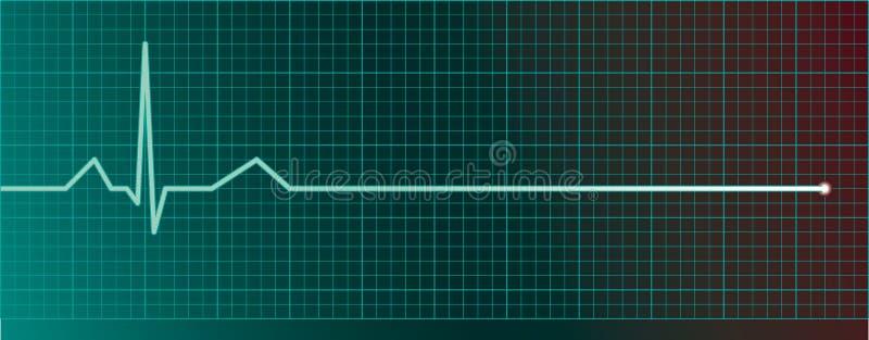 Video di impulso del cuore con il flatline illustrazione vettoriale