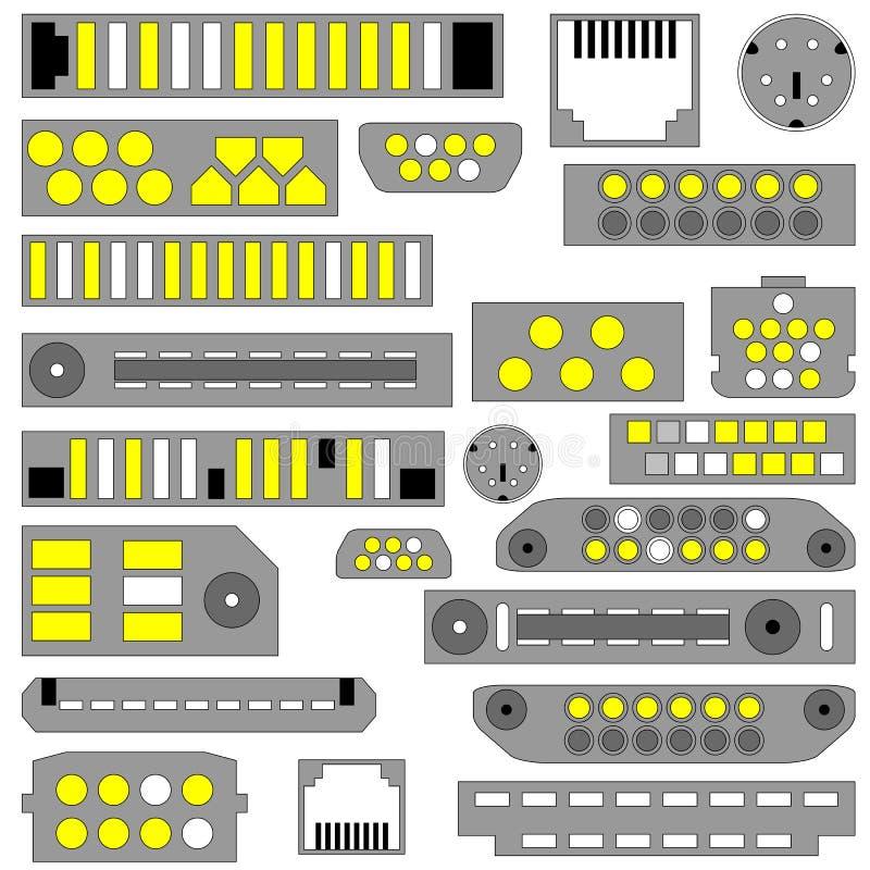 Video di vettore, audio e connettori del telefono illustrazione vettoriale