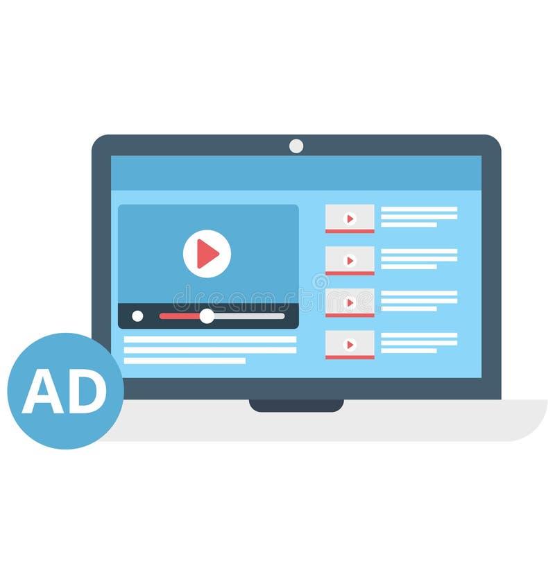 Video die het Geïsoleerde Pictogram van de Kleuren Vectorillustratie op de markt brengen vector illustratie