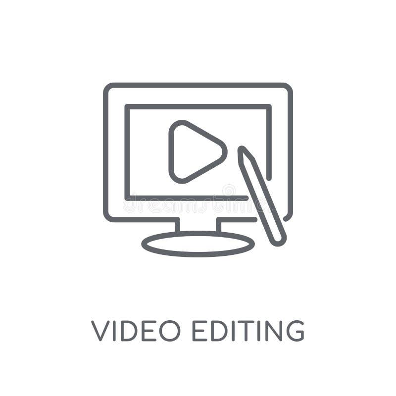 Video die lineair pictogram uitgeven Het moderne overzicht Video het uitgeven embleem bedriegt royalty-vrije illustratie