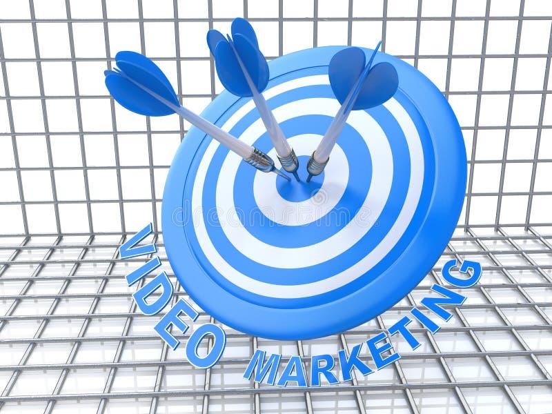 Video die op de markt brengen: pijlen die het centrum van doel raken royalty-vrije illustratie