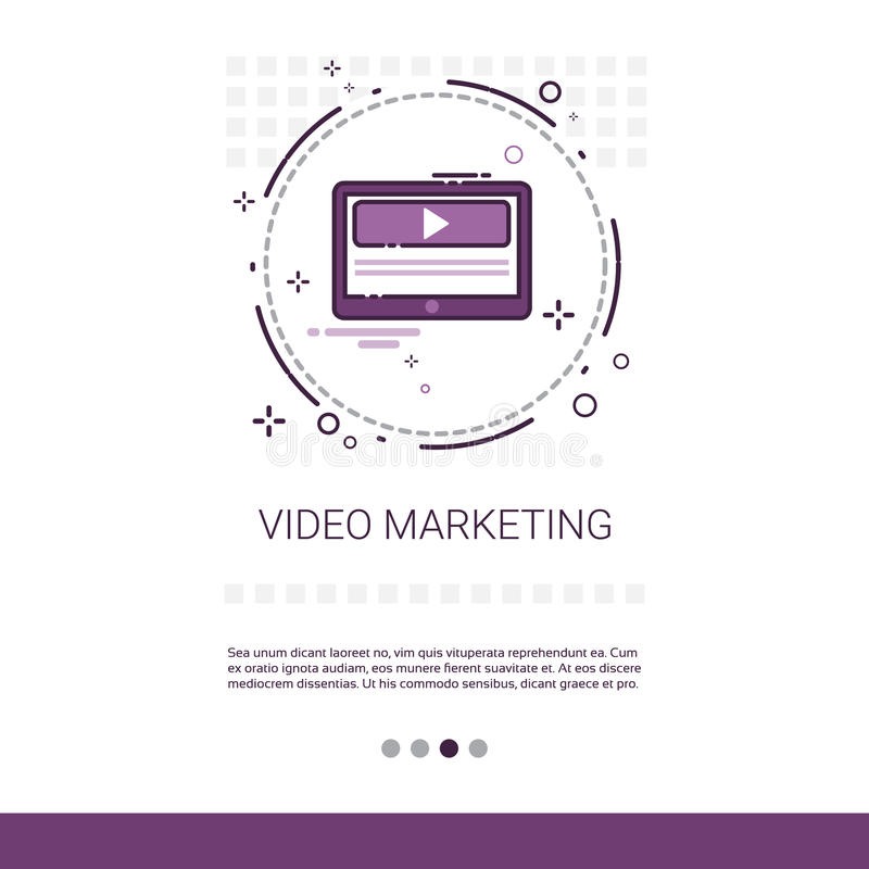 Video Digital Marketing Business Web Banner With Copy Space royalty free illustration