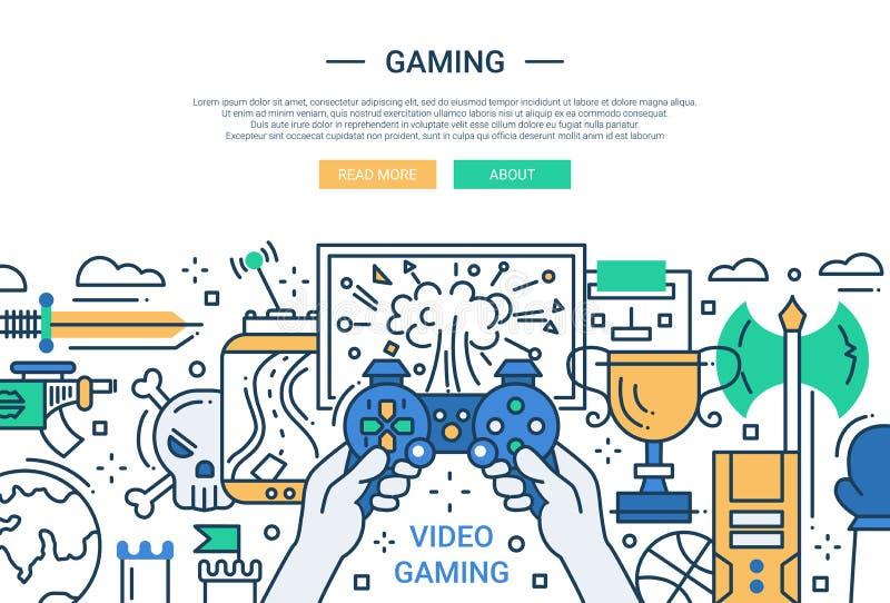 Video dobbel - linje designwebsitebaner vektor illustrationer