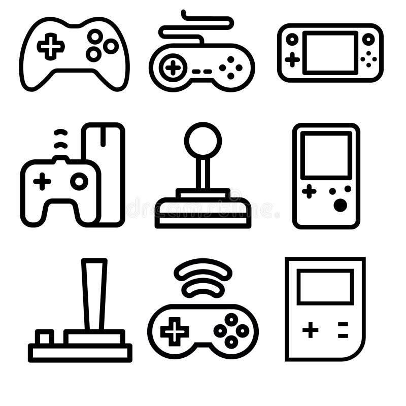 Video dobbel och modiga konsolvectrasymboler stock illustrationer