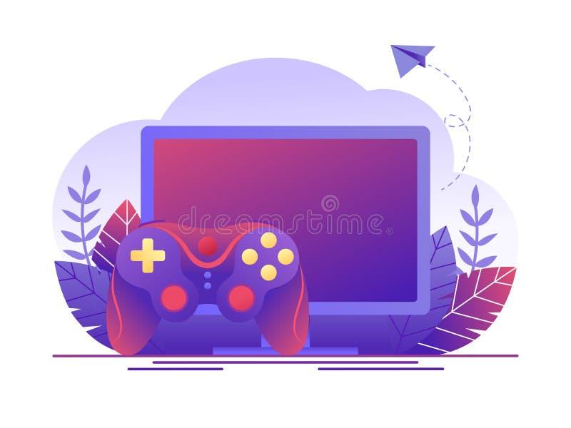 Video dobbel, online spel Datorskärm och gamepad Plan begreppsvektorillustration för webbsidan, baner, presentation vektor illustrationer