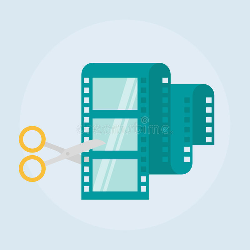 Video editing flat vector icon. Film editing design icon from the background , Video edit concept icons in flat style. Video production simple flat icon stock illustration