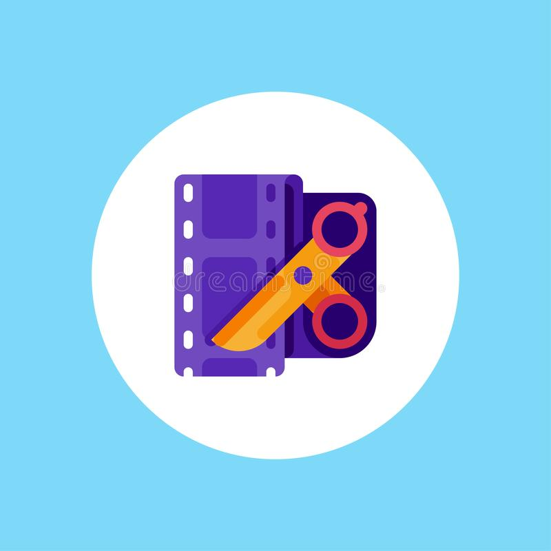 Video editor vector icon sign symbol. Video editing flat vector icon. Film editing design icon from the background , Video edit concept icons in flat style vector illustration
