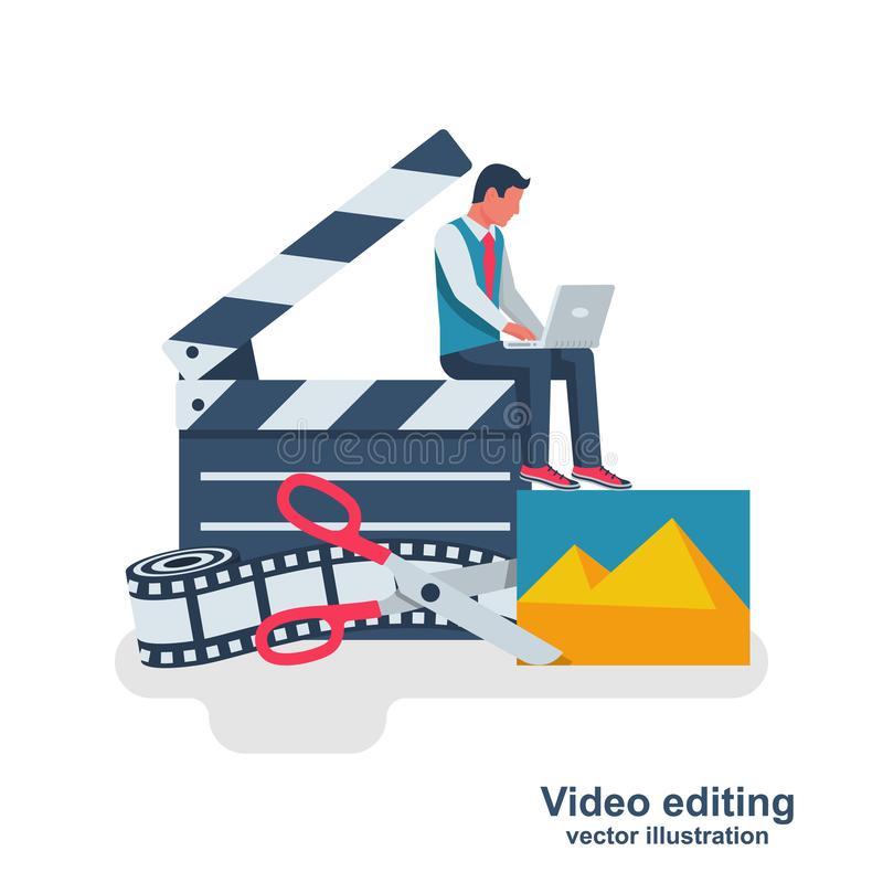 Video editing. Multimedia content. Footage editing. Videographer with a laptop mounts movie. Photo film and scissors. Vector illustration flat design. Isolated vector illustration