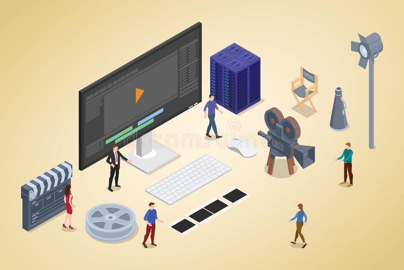 Video editing production concept with team people and editor with modern isometric flat style - vector royalty free illustration