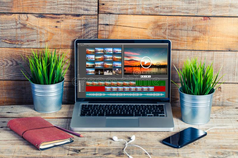 Video editing project in a laptop screen. Video edit software template design in a laptop computer screen royalty free stock photography