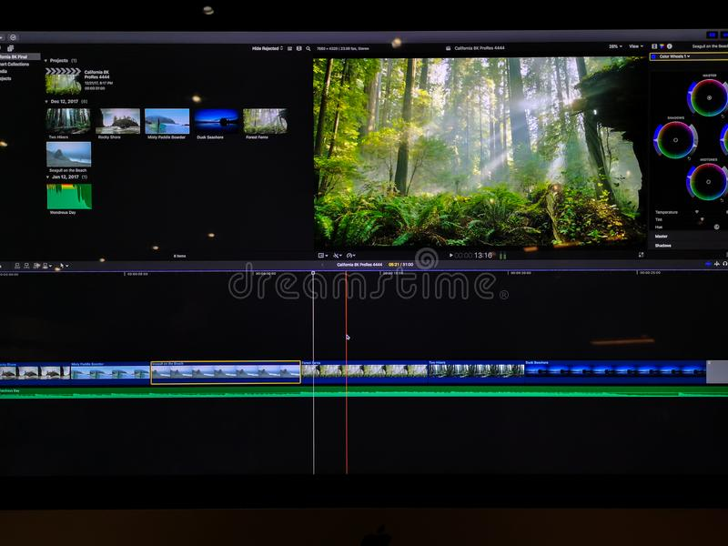Video editing time line and clips on a computer screen - video editing process royalty free stock photo