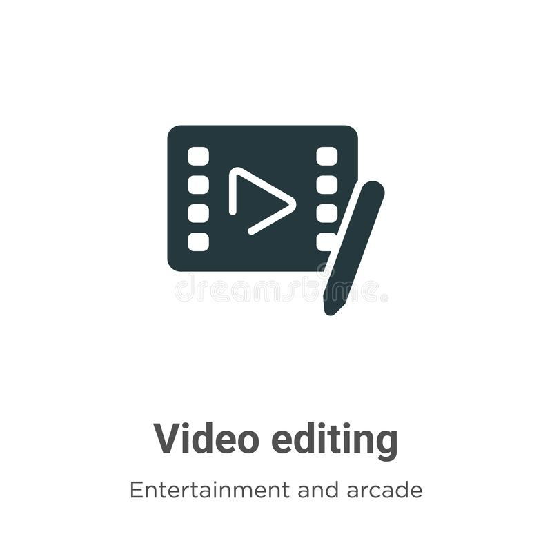 Video editing vector icon on white background. Flat vector video editing icon symbol sign from modern entertainment and arcade vector illustration
