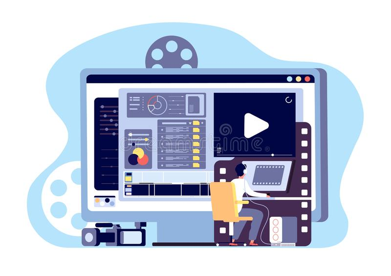 Video editor concept. Multimedia content production and footage editing. Making web page shoot, studio filmmaking vector vector illustration