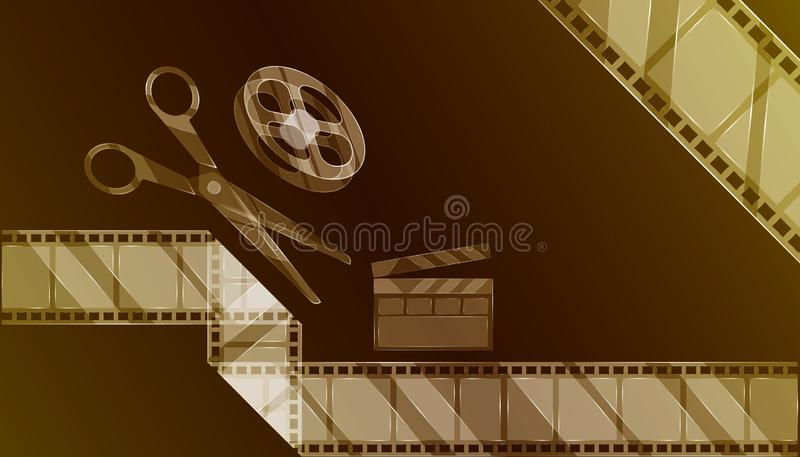 Video editor. luxury transparent glass equipment of film movie creator for your make clip and make it online. tea color background vector illustration