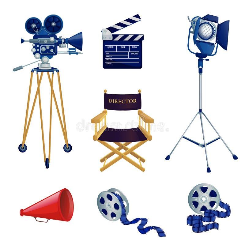 Video en geplaatste bioskoopproductie, vectorbeeldverhaalpictogrammen en ontwerpelementen Het materiaalillustratie van de filmstu stock illustratie
