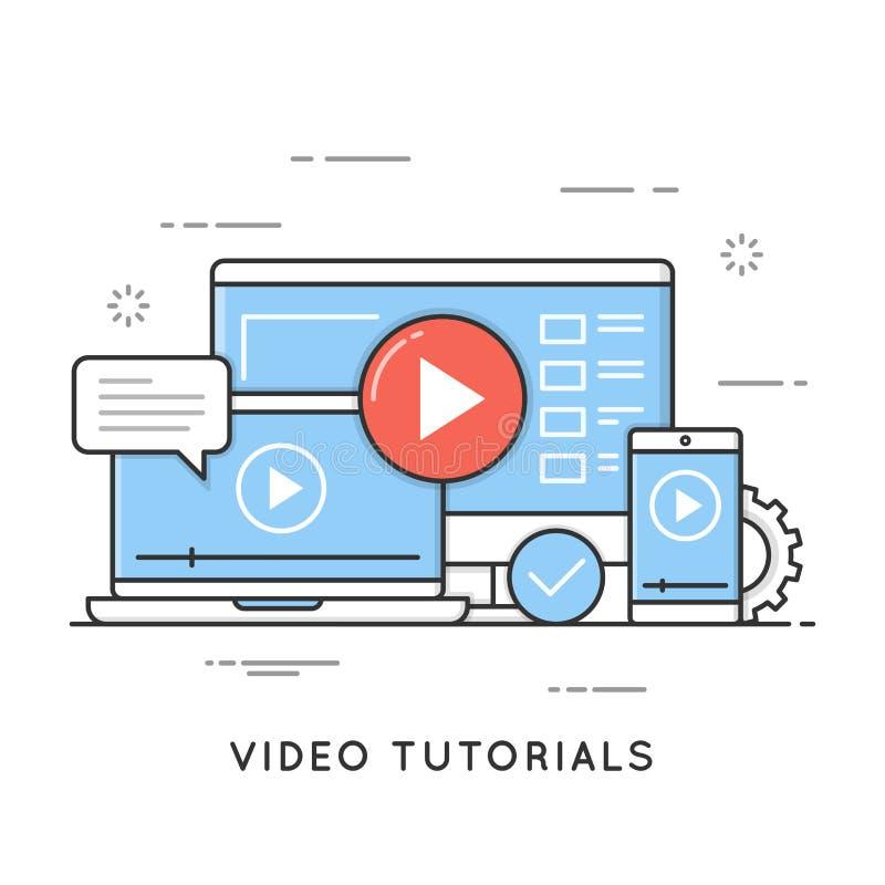 Video en webinar leerprogramma's die, online, afstand opleiden leren vector illustratie