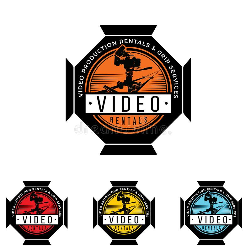 Video equipment vector logo. Video equipment rentals logo. Film shooting emblem. Video equipment vector logo. Video equipment rentals logo. Film shooting emblem vector illustration