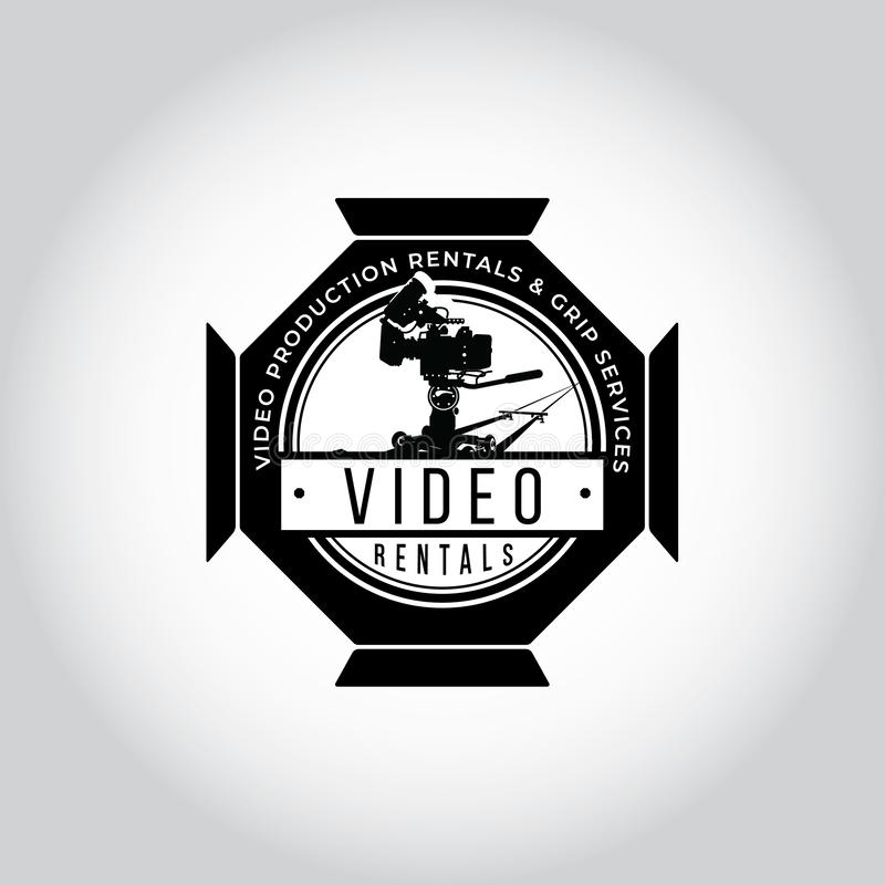 Video equipment vector logo. Video equipment rentals logo. Film shooting emblem. Video equipment vector logo. Video equipment rentals logo. Film shooting emblem stock illustration