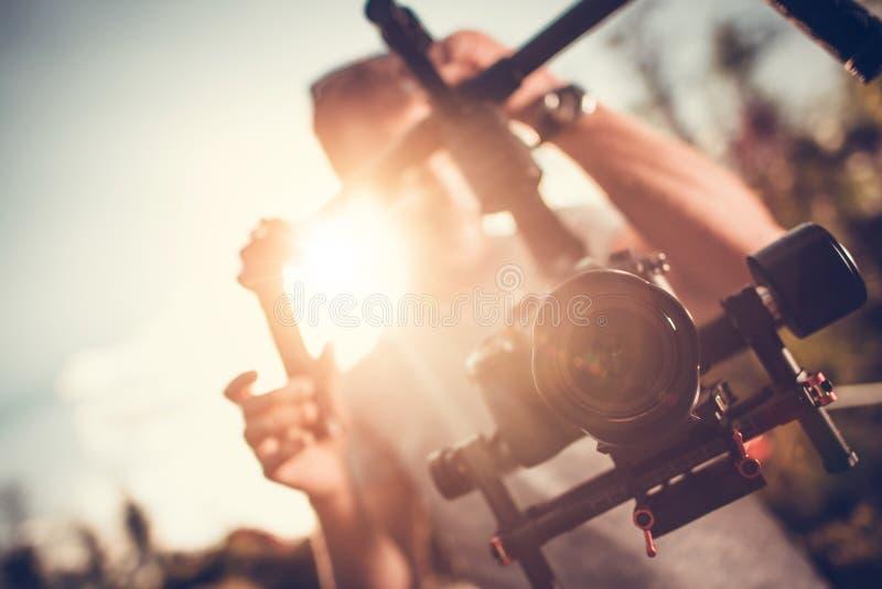 Video för kameraGimbal DSLR arkivbilder
