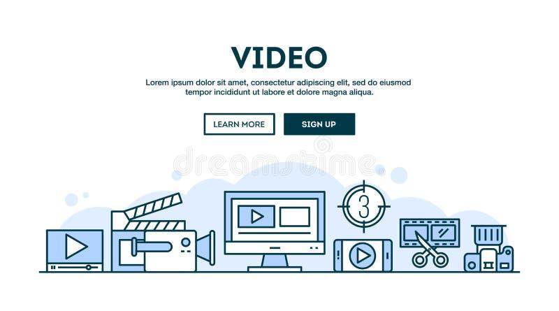 Video fabbricazione, intestazione di concetto, linea stile sottile di progettazione piana illustrazione di stock