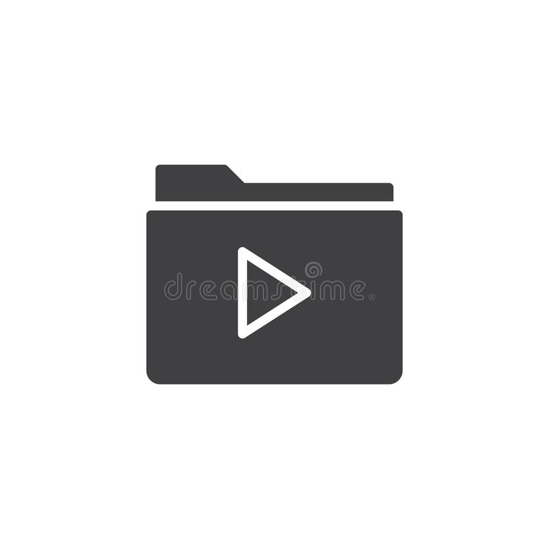 Video file folder icon vector. Filled flat sign, solid pictogram isolated on white. Symbol, logo illustration royalty free illustration