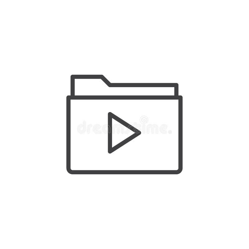 Video file folder line icon. Outline vector sign, linear style pictogram isolated on white. Symbol, logo illustration. Editable stroke stock illustration