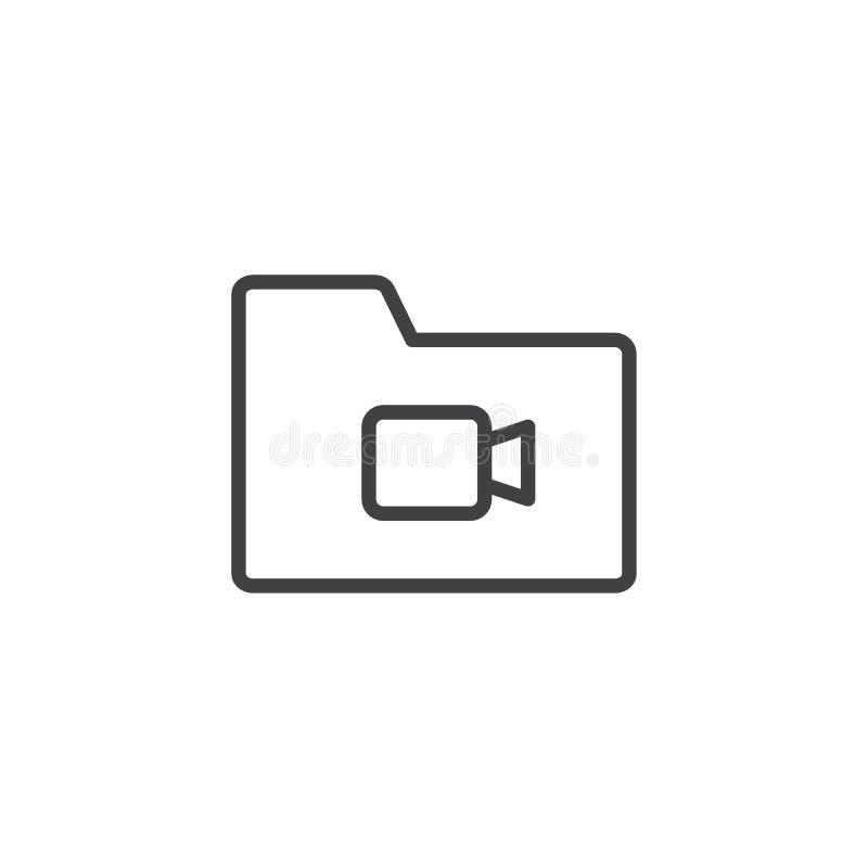 Video file folder outline icon. Linear style sign for mobile concept and web design. Multimedia folder simple line vector icon. Symbol, logo illustration royalty free illustration
