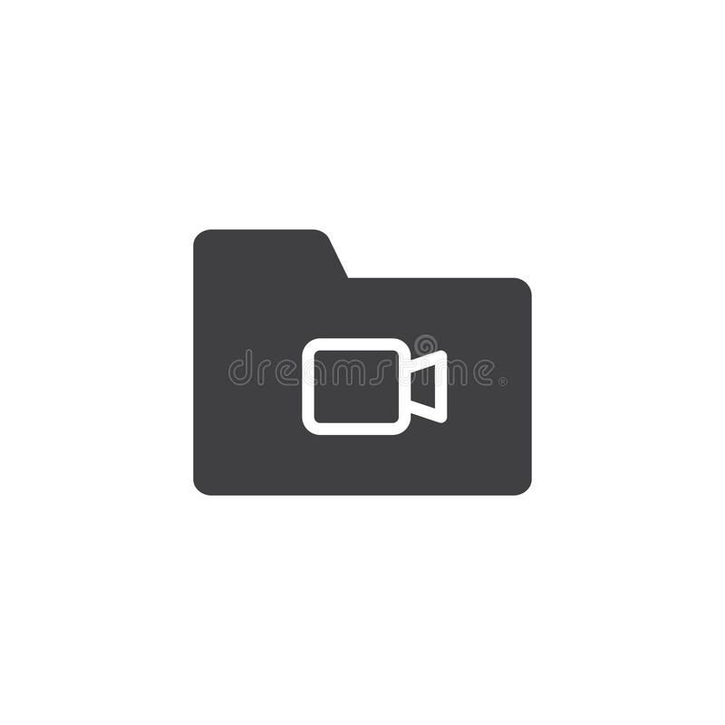 Video file folder vector icon. Filled flat sign for mobile concept and web design. Multimedia folder simple solid icon. Symbol, logo illustration. Pixel vector illustration