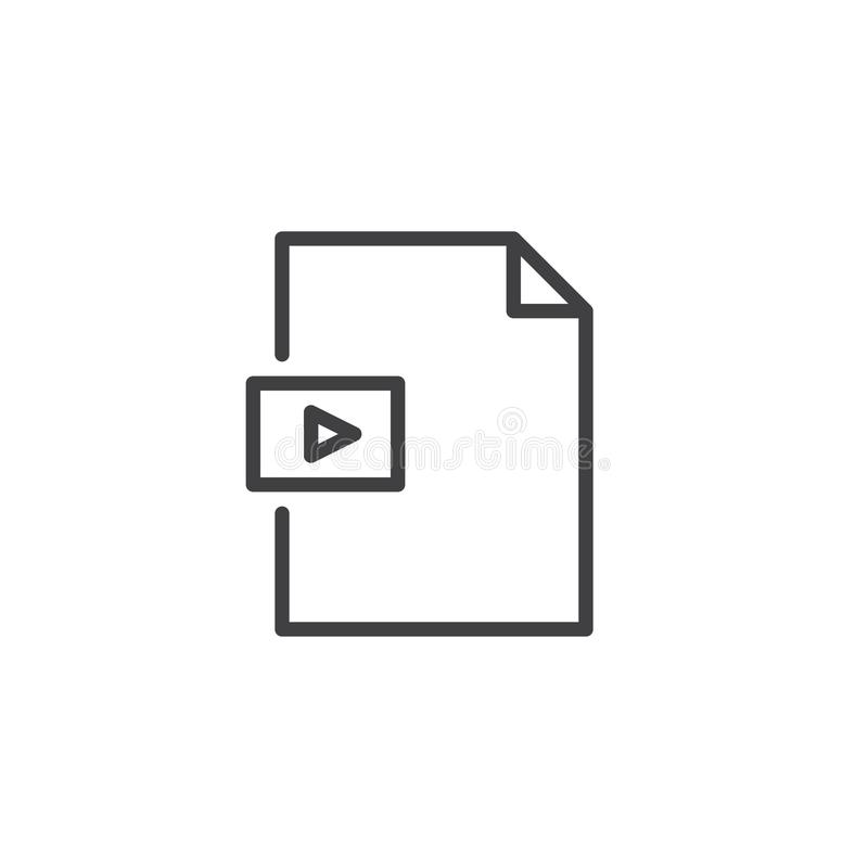 Video file format outline icon. Linear style sign for mobile concept and web design. Media folder simple line vector icon. Symbol, logo illustration. Pixel royalty free illustration