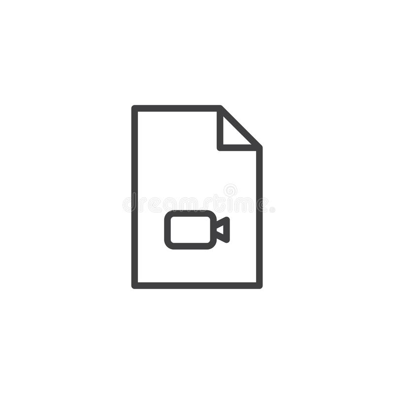 Video file format outline icon. Linear style sign for mobile concept and web design. Multimedia folder simple line vector icon. Symbol, logo illustration royalty free illustration