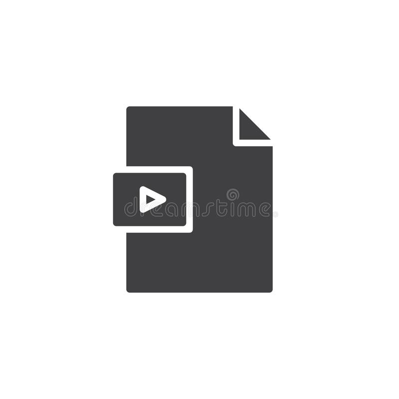 Video file format vector icon. Filled flat sign for mobile concept and web design. Media folder simple solid icon. Symbol, logo illustration. Pixel perfect stock illustration
