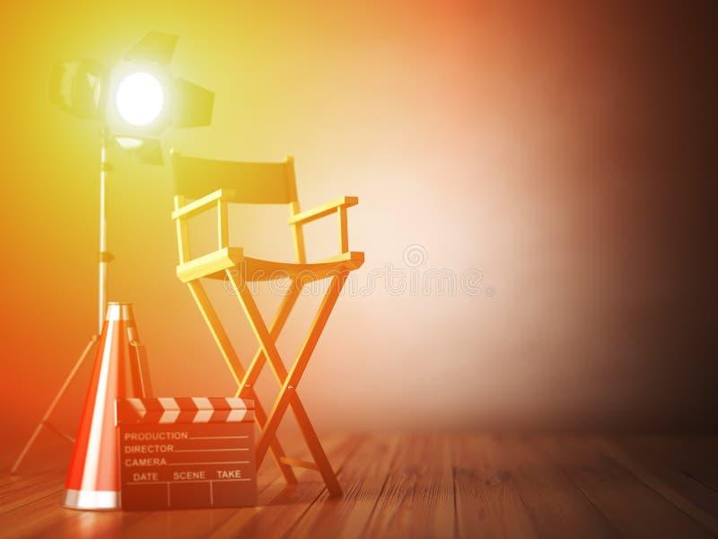 Video film, biobegrepp Clapperboard och direktörstol royaltyfri illustrationer