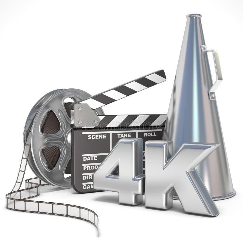 Video film, bioproduktionbegrepp Rullar, clapperboard, megafon och 4K 3d vektor illustrationer