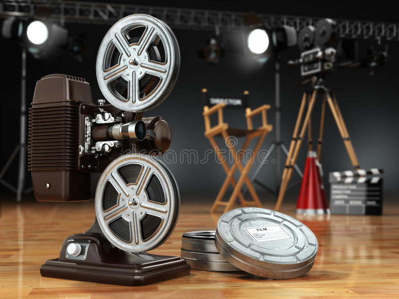 Video, film, bioskoopconcept Uitstekende projector, retro camera, r stock illustratie