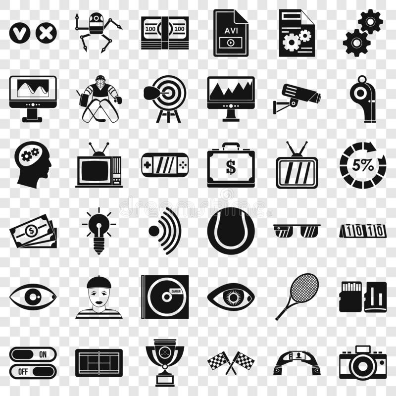 Video film icons set, simple style. Video film icons set. Simple style of 36 video film vector icons for web for any design royalty free illustration