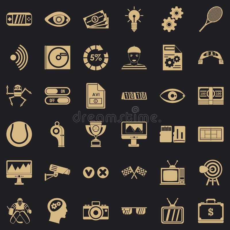 Video film icons set, simple style. Video film icons set. Simple style of 36 video film vector icons for web for any design stock illustration