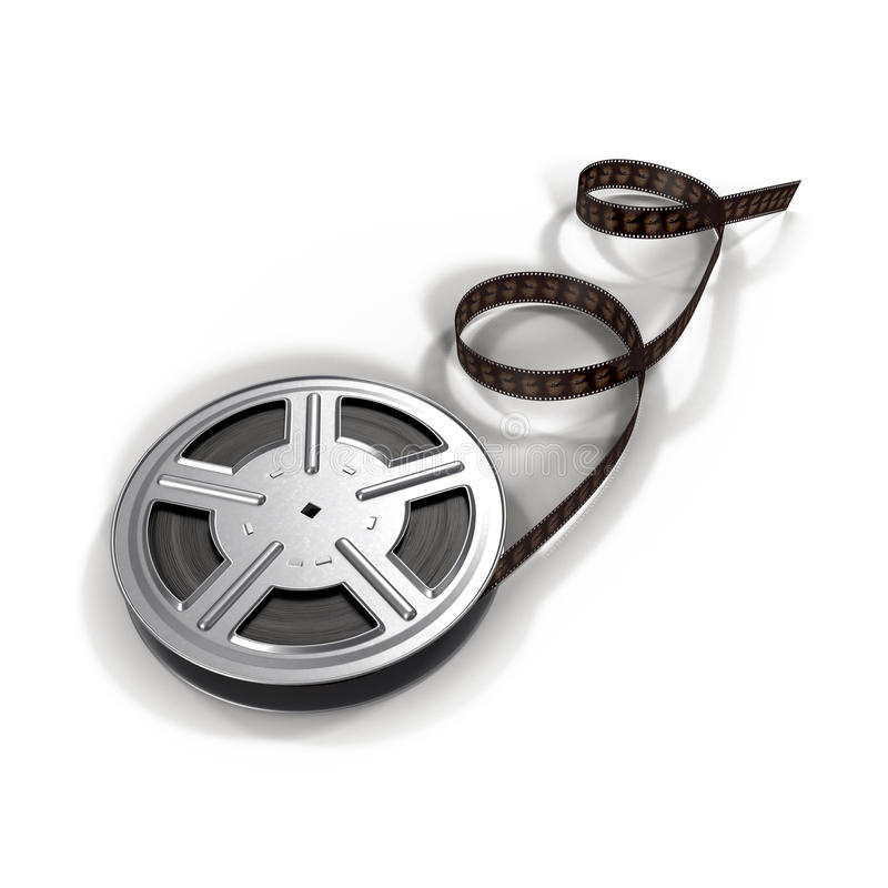 Video Film Reel on White Background stock images