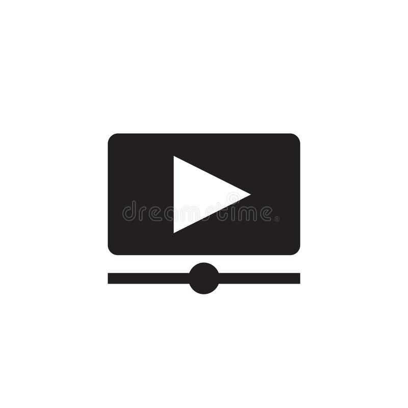 Video film strip - black icon on white background vector illustration for website, mobile application, presentation, infographic. Movie player concept sign royalty free illustration
