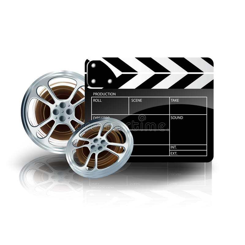 Video film tape with cinema clapper and filmstrip royalty free illustration