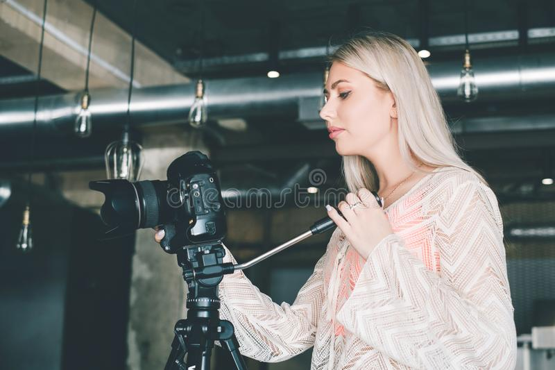 Video filming videographer tv news. Videographer at work. video filming for tv. news coverage. mass media telecommunications concept stock photo