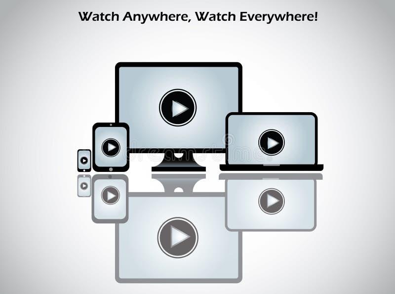 Video filmleksymbol på datorbärbara datorn royaltyfri illustrationer